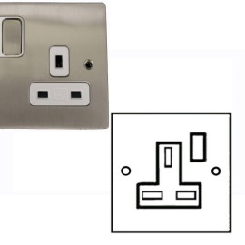 1 Gang 13A Switched Single Socket in Satin Nickel Brushed and White Plastic Trim Stylist Grid Flat Plate