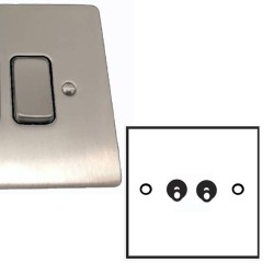 2 Gang 2 Way Dolly Switch 20A in Satin Nickel Brushed Plate and Dolly, Stylist Grid Range