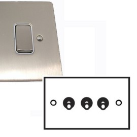 3 Gang 2 Way Dolly Switch 20A in Satin Nickel Brushed Plate and Dolly, Stylist Grid Range