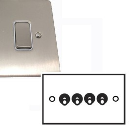 4 Gang 2 Way Dolly Switch 20A in Satin Nickel Brushed Plate and Dolly, Stylist Grid Range