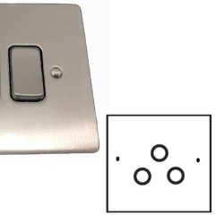 TV / FM / Satellite Triplex Socket in Satin Nickel Brushed and Black Plastic Insert, Stylist Grid Flat Plate