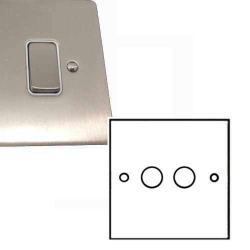 2 Gang 2 Way Dimmer Switch 400W in Satin Nickel Brushed Flat Plate and Knobs, Stylist Grid Range