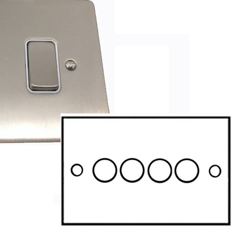 4 Gang 2 Way Dimmer Switch 400W in Satin Nickel Brushed Flat Plate and Knob, Stylist Grid Range