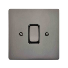 1 Gang 2 Way 10A Rocker Grid Switch in Polished Bronze and Black Insert Stylist Grid Flat Plate