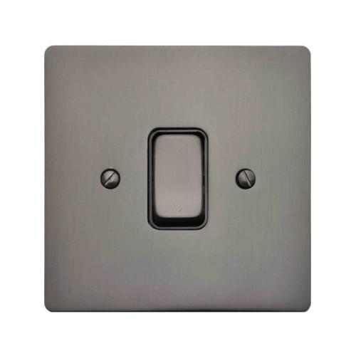 1 Gang Intermediate 20A Rocker Grid Switch in Polished Bronze and Black Insert Stylist Grid Flat Plate
