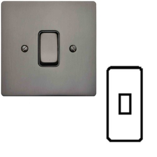 1 Gang Architrave Rocker Grid Switch in Polished Bronze and Black Insert Stylist Grid Flat Plate