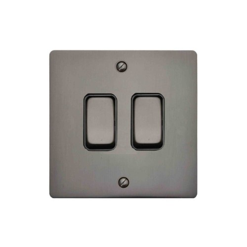 2 Gang 2 Way 10A Rocker Grid Switch in Polished Bronze and Black Insert Stylist Grid Flat Plate
