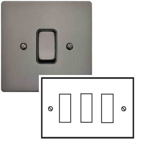 3 Gang 2 Way 10A Rocker Grid Switch in Polished Bronze and Black Insert Stylist Grid Flat Plate