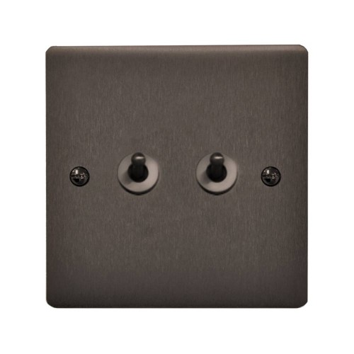 2 Gang 20A 2 Way Dolly Switch in Polished Bronze Flat Plate and Dolly, Stylist Grid Range
