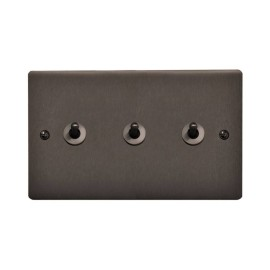 3 Gang 20A 2 Way Dolly Switch in Polished Bronze Flat Plate and Dolly, Stylist Grid Range