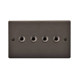 4 Gang 20A 2 Way Dolly Switch in Polished Bronze Flat Plate and Dolly, Stylist Grid Range