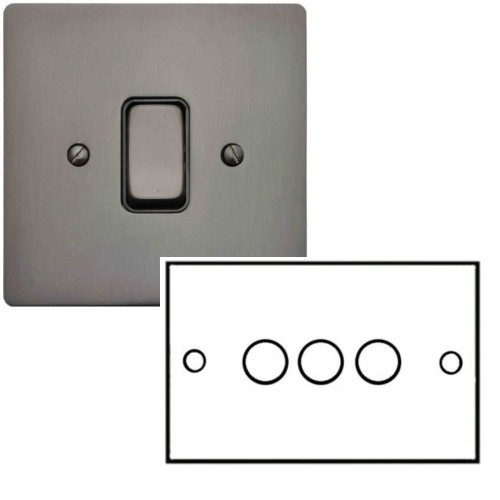 3 Gang 2 Way 10-120W Trailing Edge LED Dimmer in Polished Bronze Flat Plate and Knob, Stylist Grid