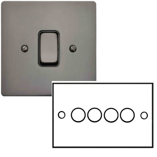 4 Gang 2 Way Dimmer Switch 400W in Polished Bronze Flat Plate and Knob, Stylist Grid Range