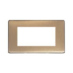 4 Module Euro Plate Vintage Antique Brass Screwless Plate Heritage Brass PL.X91.2694.G