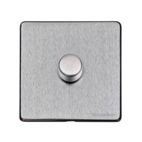 1 Gang 2 Way Trailing Edge LED Dimmer 10-120W Screwless Vintage Satin Chrome Plate
