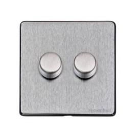 2 Gang 2 Way Trailing Edge LED Dimmer 10-120W Screwless Vintage Satin Chrome Plate