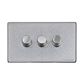 3 Gang 2 Way Trailing Edge LED Dimmer 10-120W Screwless Vintage Satin Chrome Plate