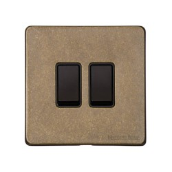 2 Gang 2 Way 10A Rocker Switch Screwless Vintage Rustic Brass Plate with Black Plastic Rockers and Trim