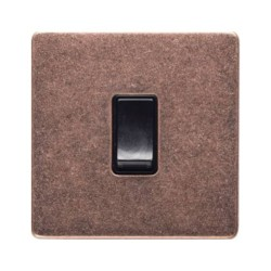 1 Gang 2 Way 10A Rocker Switch Screwless Vintage Rustic Copper Plate with Black Plastic Rocker and Trim