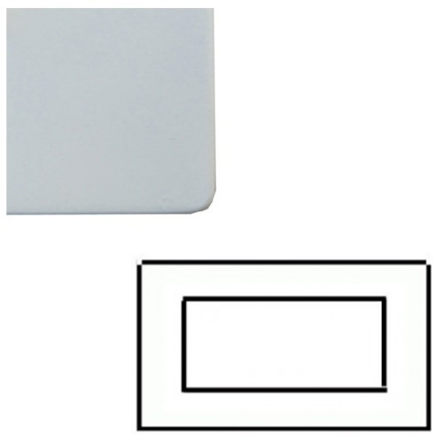2 Gang 4 Module Euro Cover Plate in Matt White Screwless with White Trim, Mode White
