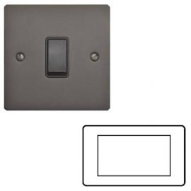 4 Gang Euro Module Matt Bronze Elite Flat Plate with Black Insert (Cover Plate Only)