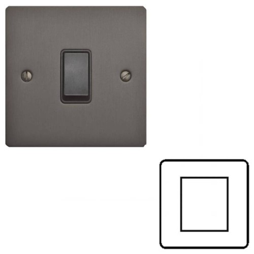 2 Gang Euro Module Matt Bronze Elite Flat Plate with Black Insert (Cover Plate Only)