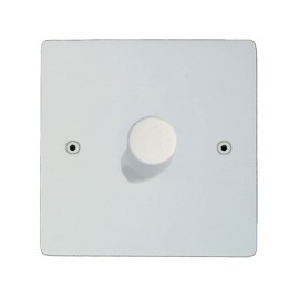 Primed White 1 Gang 2 Way 400W Push ON/OFF Dimmer Switch Paintable Flat Plate with Screws
