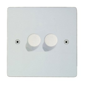 Primed White 2 Gang 2 Way 400W Push ON/OFF Dimmer Switch Paintable Flat Plate with Screws