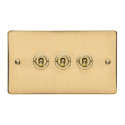 3 Gang 2 Way 20A Triple Dolly Switch in Polished Brass Flat Plate and Toggle, Elite Flat Plate