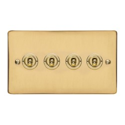 4 Gang 2 Way 20A Dolly Switch in Polished Brass Flat Plate and Toggle, Elite Flat Plate