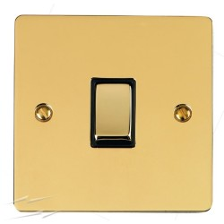 1 Gang 20A Double Pole Rocker Switch in Polished Brass Plate and Switch with Black Trim, Elite Flat Plate
