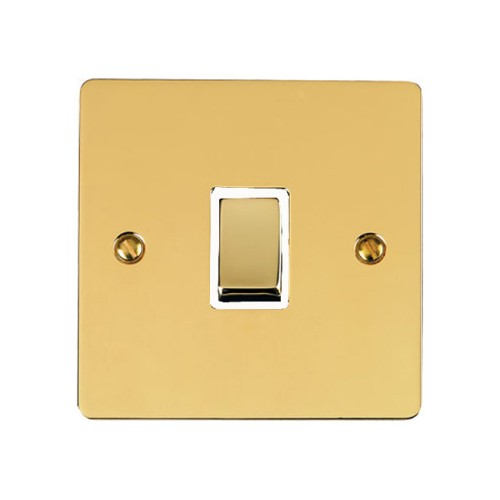 1 Gang 2 Way 10A Rocker Switch in Polished Brass Plate and Switch with White Plastic Trim, Elite Flat Plate