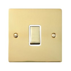 1 Gang 20A Double Pole Rocker Switch in Polished Brass Plate and Switch with White Trim, Elite Flat Plate