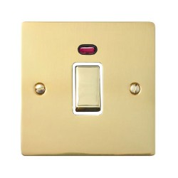 1 Gang 20A Double Pole Switch with Neon in Polished Brass Plate and Switch with White Trim, Elite Flat Plate