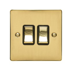 2 Gang 2 Way 10A Rocker Switch in Polished Brass Plate and Switch with Black Plastic Trim, Elite Flat Plate