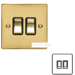 2 Gang 2 Way 10A Rocker Switch in Polished Brass Plate and Switch with White Plastic Trim, Elite Flat Plate