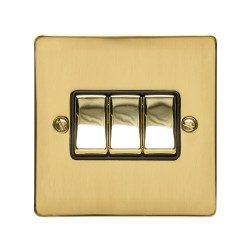 3 Gang 2 Way 10A Rocker Switch in Polished Brass Plate and Switch with Black Plastic Trim, Elite Flat Plate