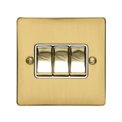 3 Gang 2 Way 10A Rocker Switch in Polished Brass Plate and Switch with White Plastic Trim, Elite Flat Plate