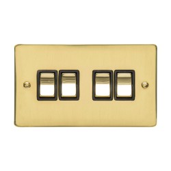 4 Gang 2 Way 10A Rocker Switch in Polished Brass Plate and Switch with Black Plastic Trim, Elite Flat Plate