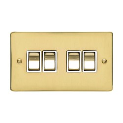 4 Gang 2 Way 10A Rocker Switch in Polished Brass Plate and Switch with White Plastic Trim, Elite Flat Plate