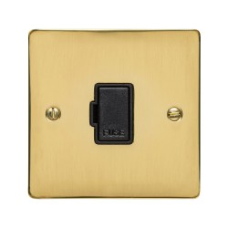 13A Unswitched Fused Spur in Polished Brass Plate and Switch with Black Plastic Trim, Elite Flat Plate