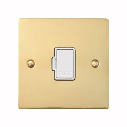 13A Unswitched Fused Spur in Polished Brass Plate and Switch with White Plastic Trim, Elite Flat Plate