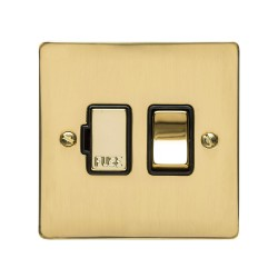 13A Switched Fused Spur in Polished Brass Plate and Switch with Black Plastic Trim, Elite Flat Plate