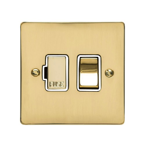 13A Switched Fused Spur in Polished Brass Plate and Switch with White Plastic Trim, Elite Flat Plate