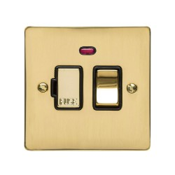 13A Switched Fused Spur with Neon in Polished Brass Plate and Switch with Black Plastic Trim, Elite Flat Plate