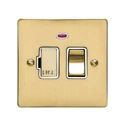 13A Switched Fused Spur with Neon in Polished Brass Plate and Switch with White Plastic Trim, Elite Flat Plate