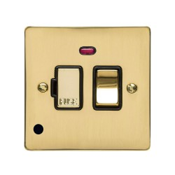 13A Switched Fused Spur with Neon and Cord Polished Brass Plate and Switch with Black Plastic Insert, Elite Flat Plate