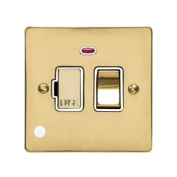 13A Switched Fused Spur with Neon and Cord Polished Brass Plate and Switch with White Plastic Insert, Elite Flat Plate