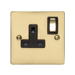 1 Gang 13A Switched Single Socket in Polished Brass Plate and Switch with Black Plastic Trim, Elite Flat Plate
