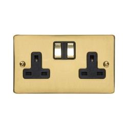 2 Gang 13A Switched Double Socket in Polished Brass Flat Plate and Black Plastic Trim, Elite Flat Plate